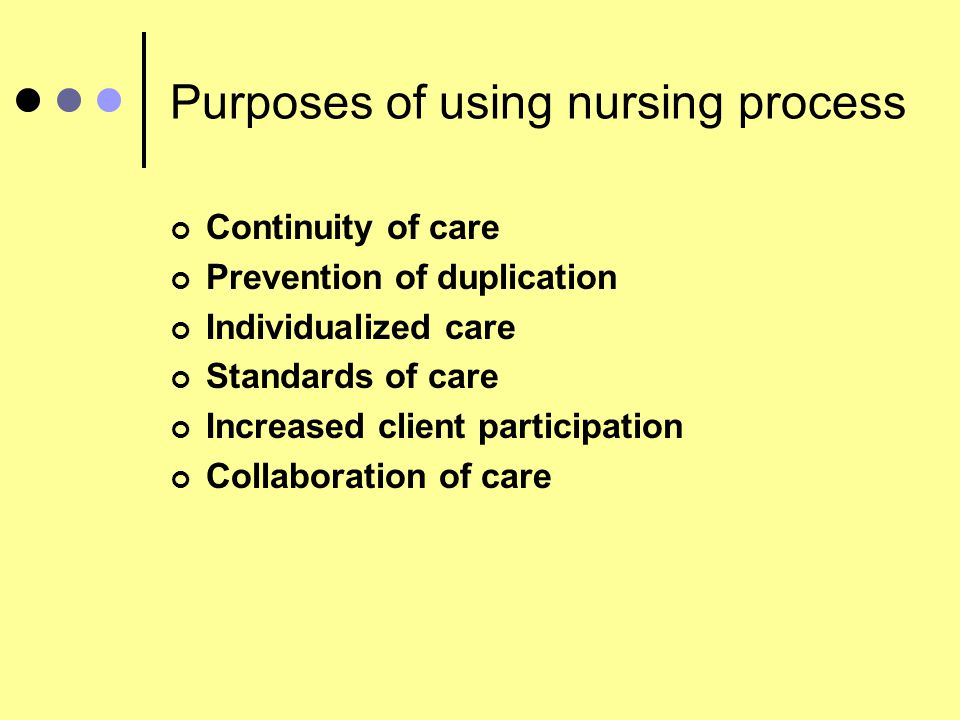 Purposes of using nursing process