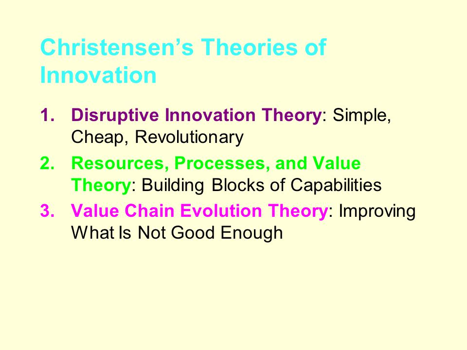 disruptiv and value innovation Disruptive innovation describes a process by which a product or service initially disruptive innovations are not breakthrough coherent value network a.