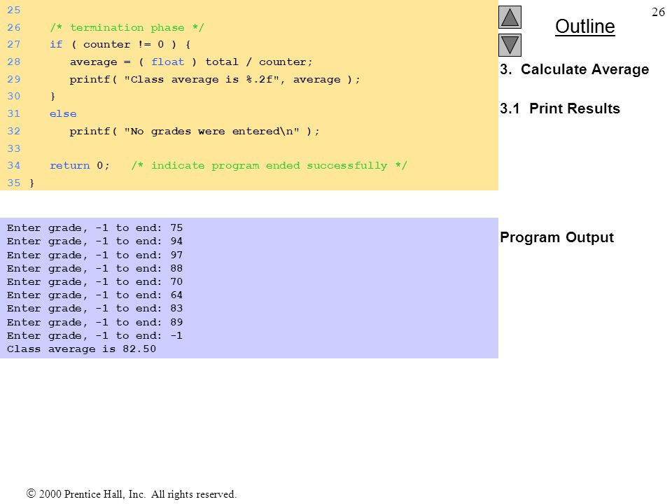 3. Calculate Average 3.1 Print Results Program Output