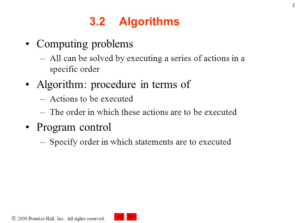 Algorithm: procedure in terms of