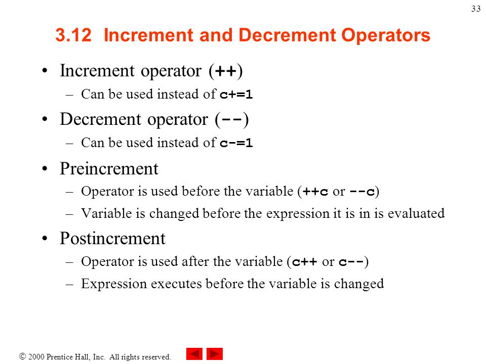 3.12 Increment and Decrement Operators