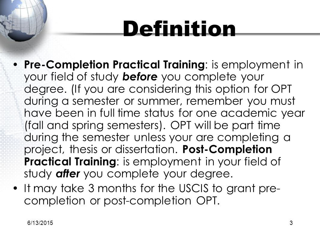 post completion opt thesis Optional practical training overview of studies (while completing a thesis dissertation or post-completion opt.