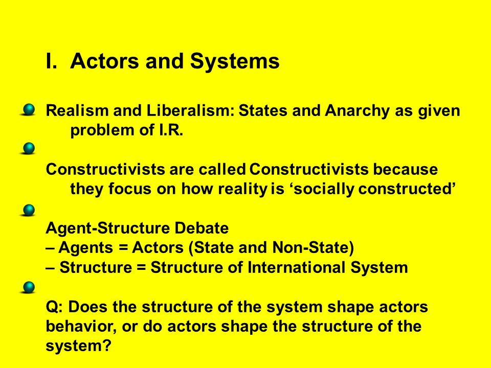 Actors and Systems Realism and Liberalism: States and Anarchy as given problem of I.R.