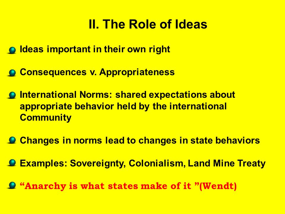 II. The Role of Ideas Ideas important in their own right