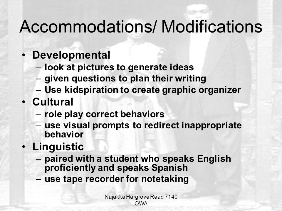 Accommodations/ Modifications