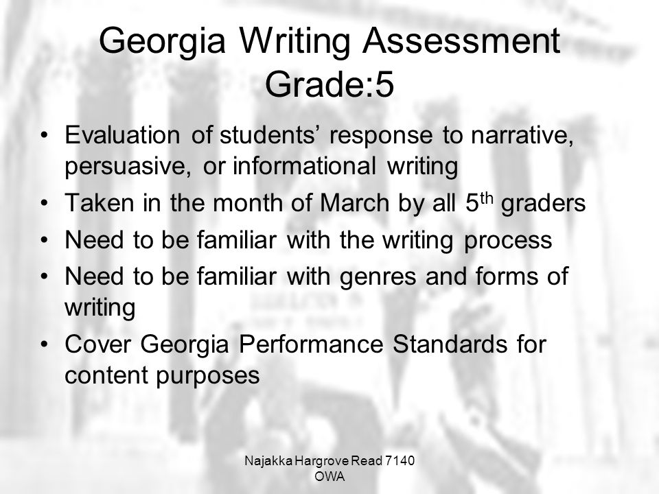 Georgia Writing Assessment Grade:5