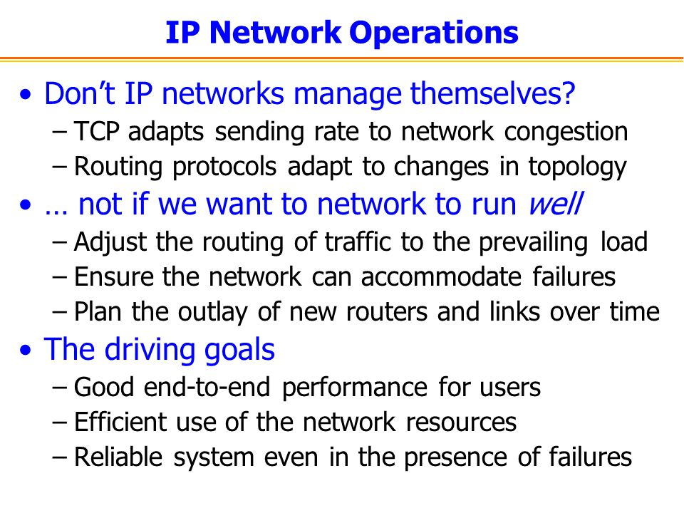 Don't IP networks manage themselves