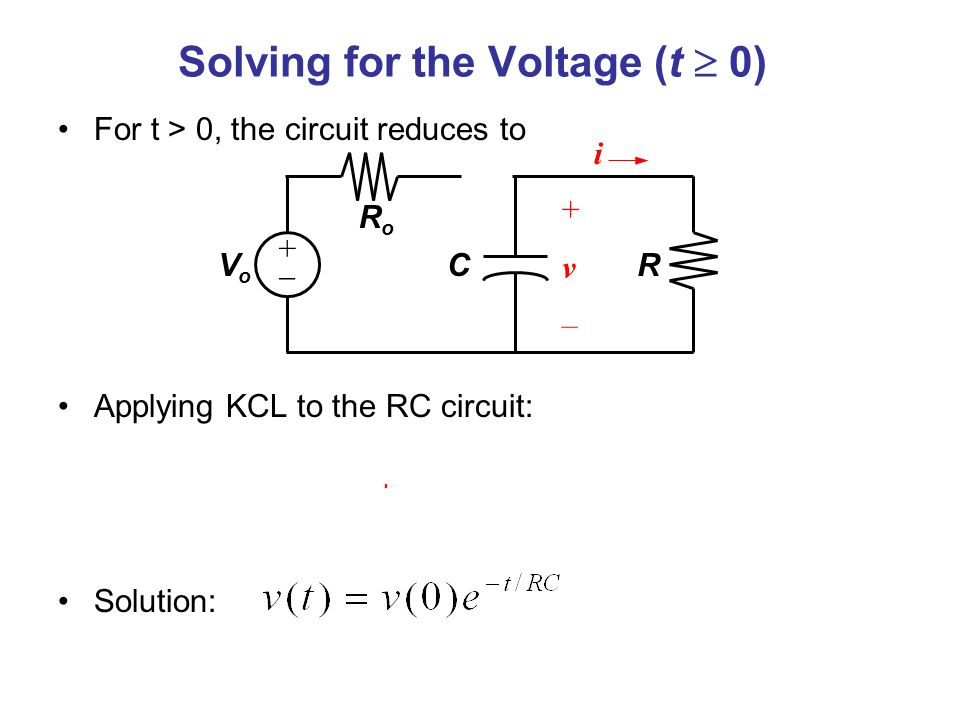 Solving for the Voltage (t  0)