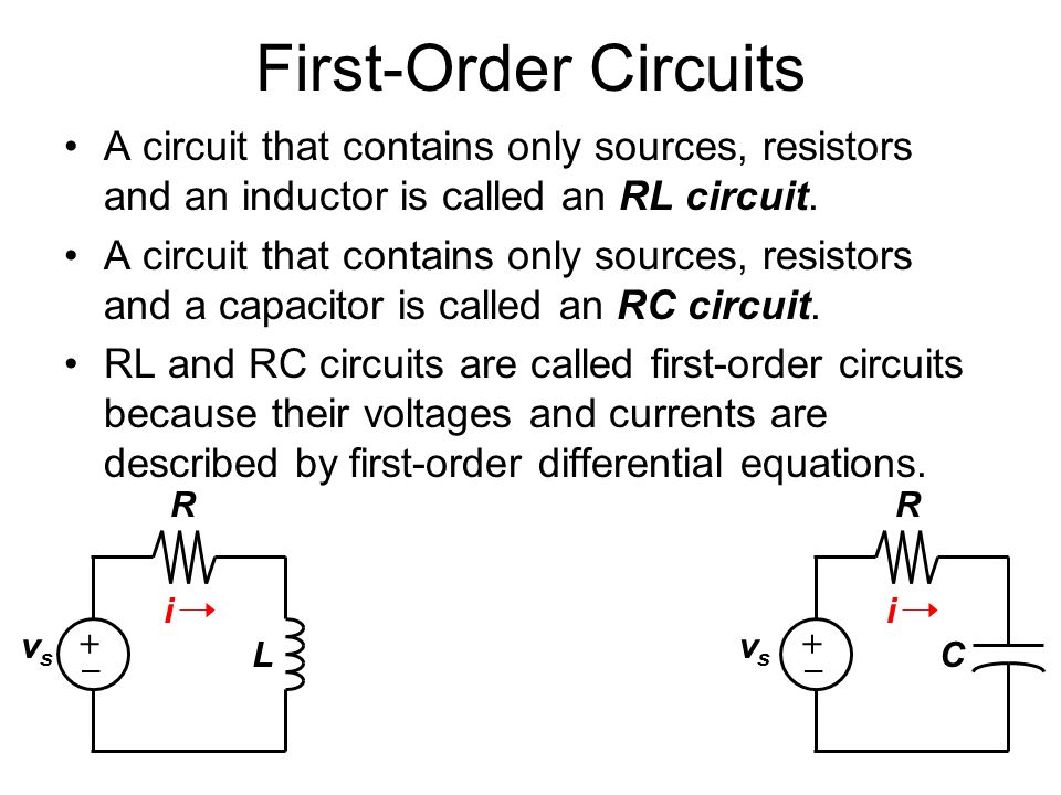 First-Order Circuits A circuit that contains only sources, resistors and an inductor is called an RL circuit.