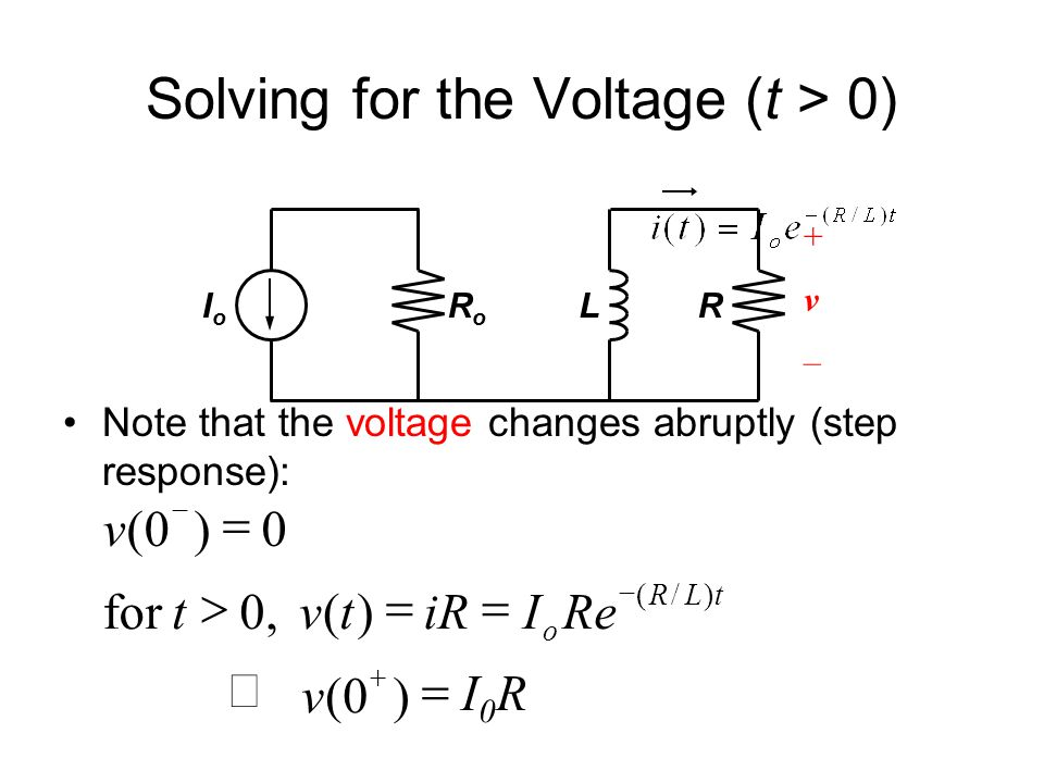 Solving for the Voltage (t > 0)