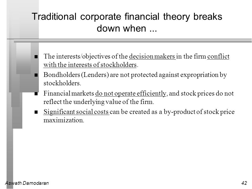 the objective in corporate finance 8 bank of america journal of applied corporate finance value maximization, stakeholder theory, and the corporate objective function by michael c jensen.