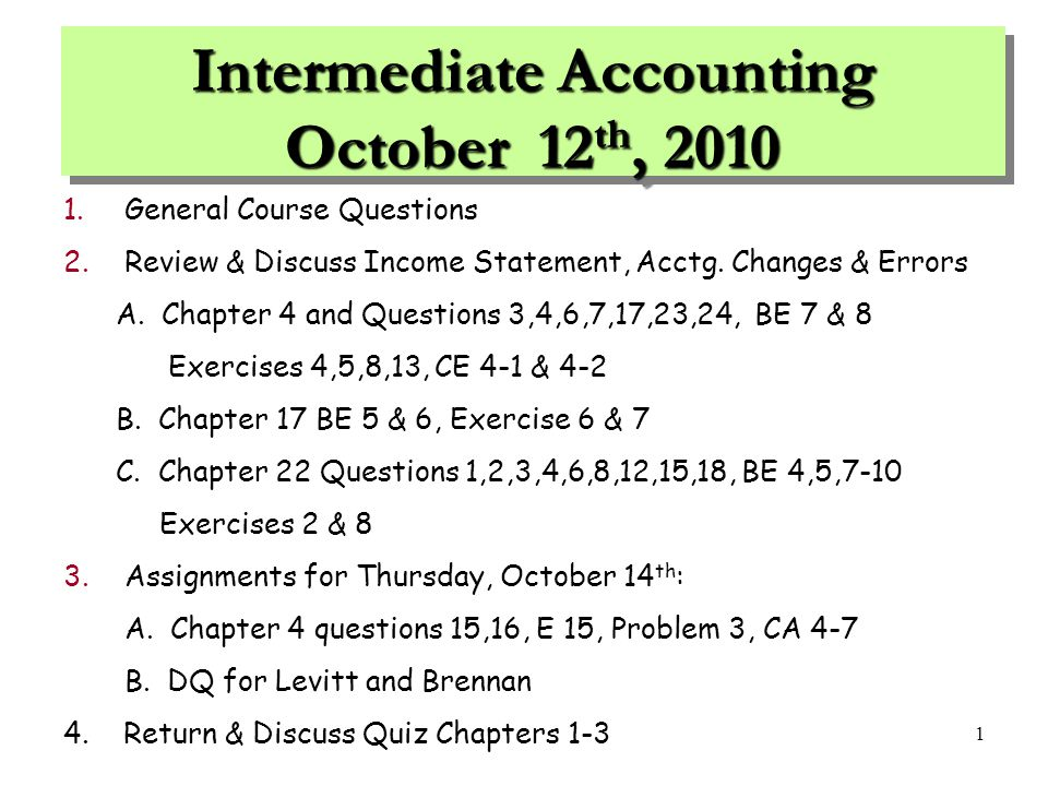 intermediate accounting 1 final review The study guide for intermediate accounting, vol 1 chapters 1-14 was a welcome resource to the course materials finding key principles, chapter learning objectives, conceptual frameworks, and problem solving with solutions are but a few ways, author kieso guides readers through the 15th edition.
