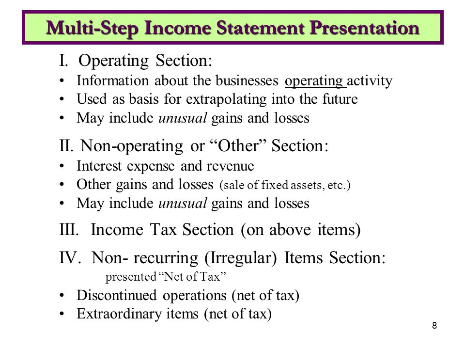 how to create multi step income statement