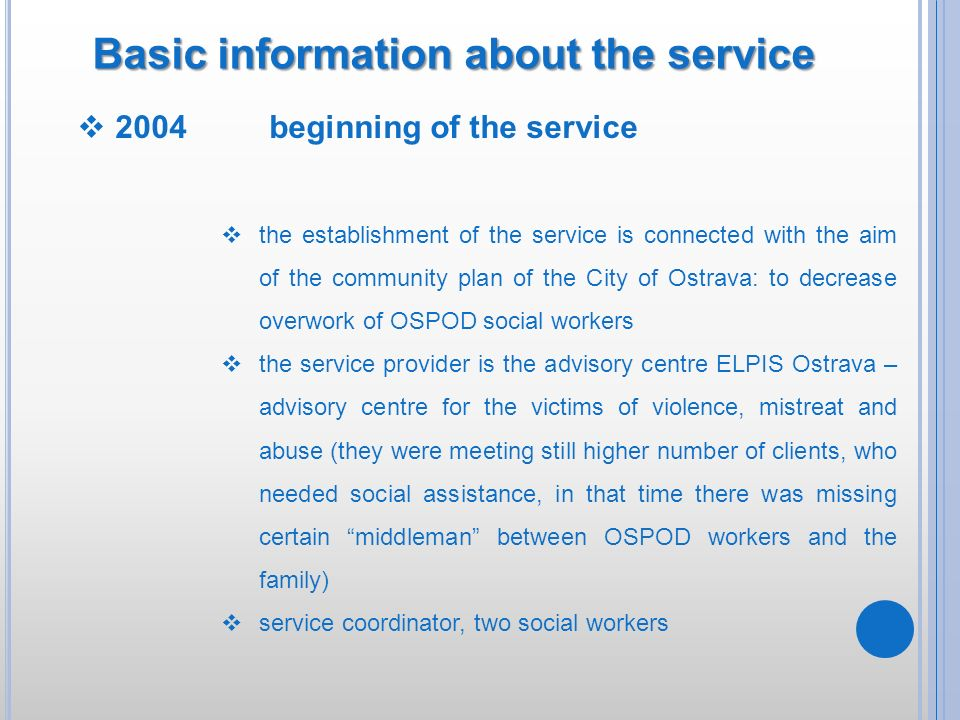 Basic information about the service