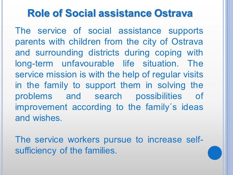 Role of Social assistance Ostrava