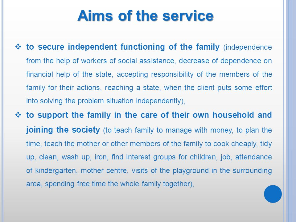 Aims of the service