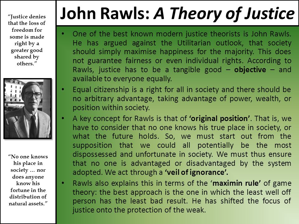 john rawls a theory of justice essay The publication in 1971 of a theory of justice established john rawls (1921-2002) as one of the most prominent figures in moral and political philosophy ofread more here.