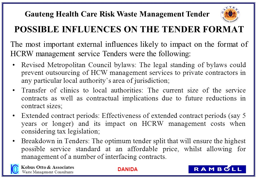 DANIDA Gauteng Health Care Risk Waste Management Tender ppt download – Contract of Service Format