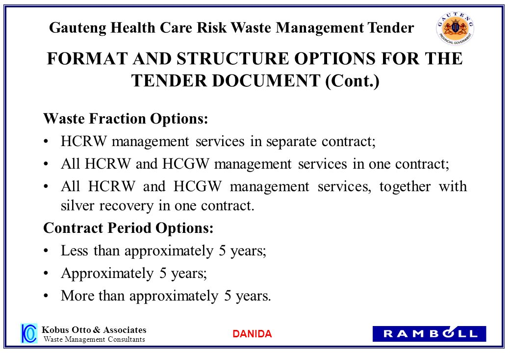 Danida gauteng health care risk waste management tender ppt 19 format pronofoot35fo Choice Image