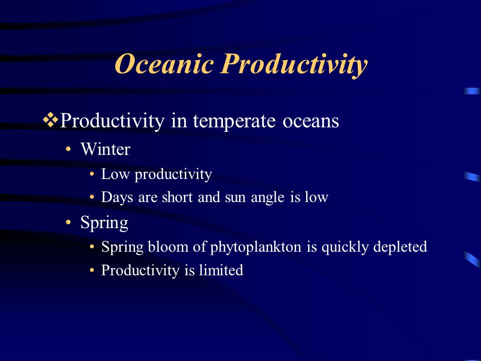 Oceanic Productivity Productivity in temperate oceans Winter Spring