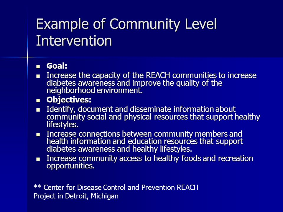 Example of Community Level Intervention