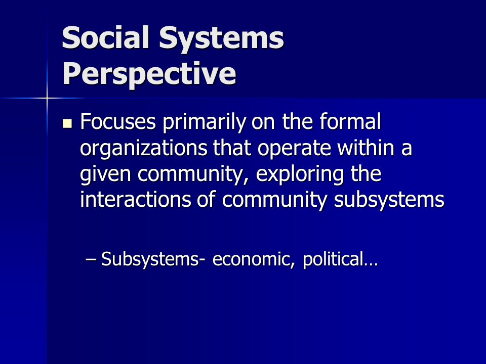 Social Systems Perspective