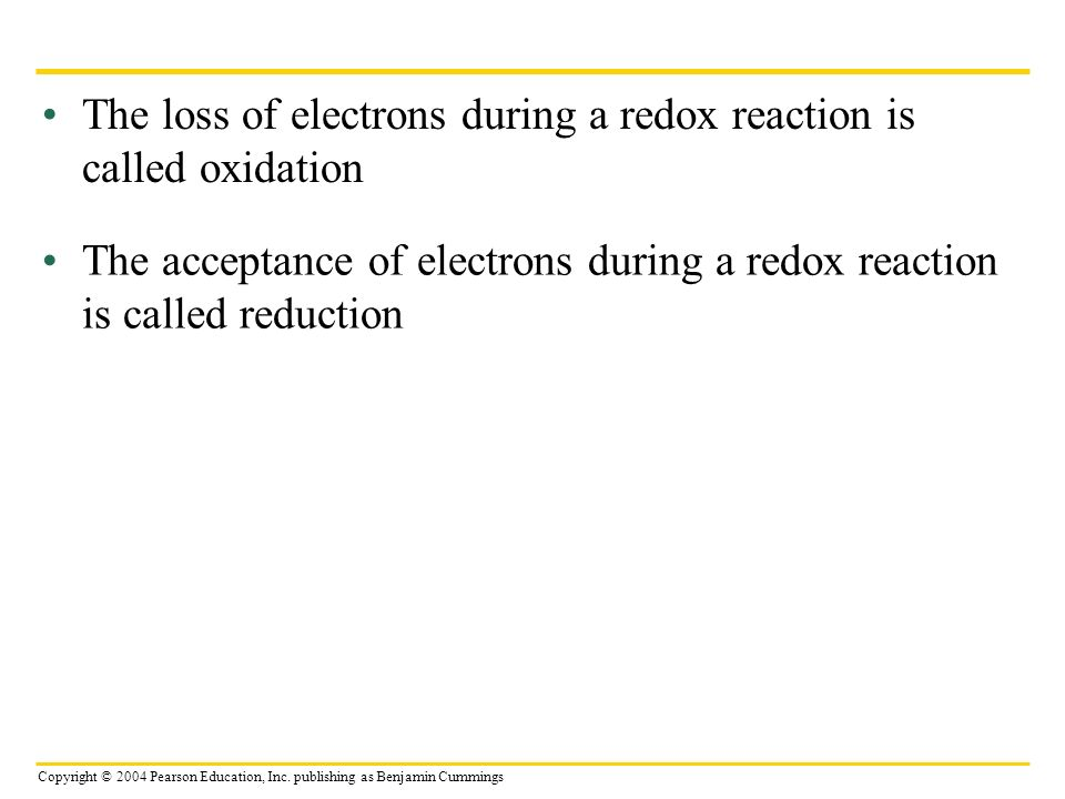 The loss of electrons during a redox reaction is called oxidation