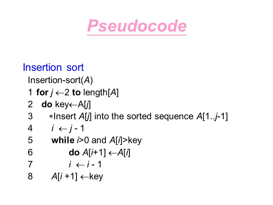 Pseudocode Insertion sort Insertion-sort(A) 1 for j 2 to length[A]