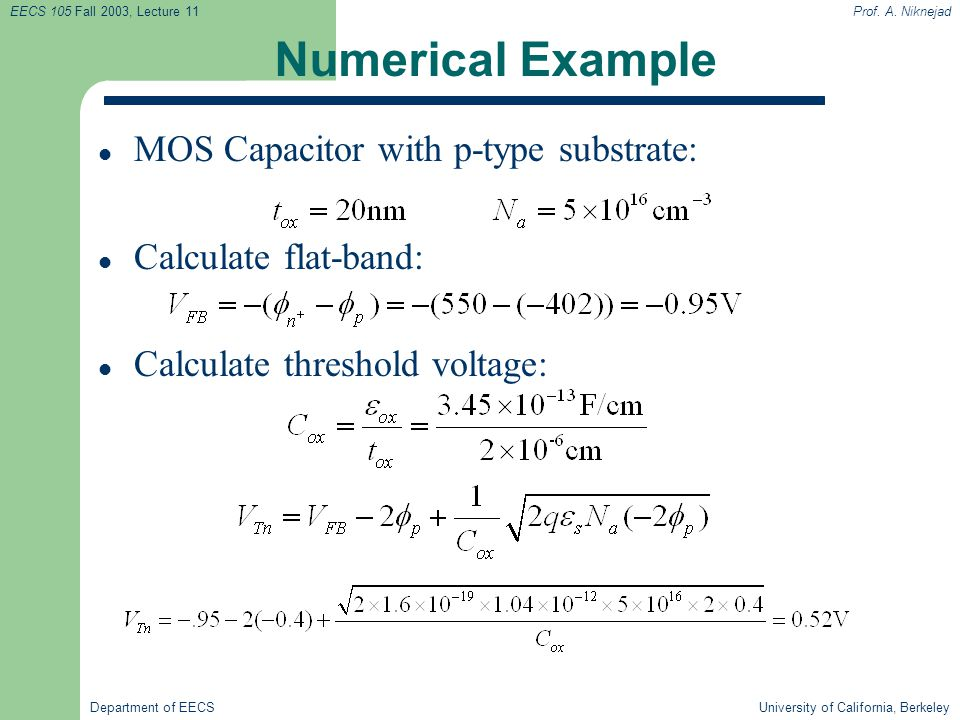 Numerical Example MOS Capacitor with p-type substrate: