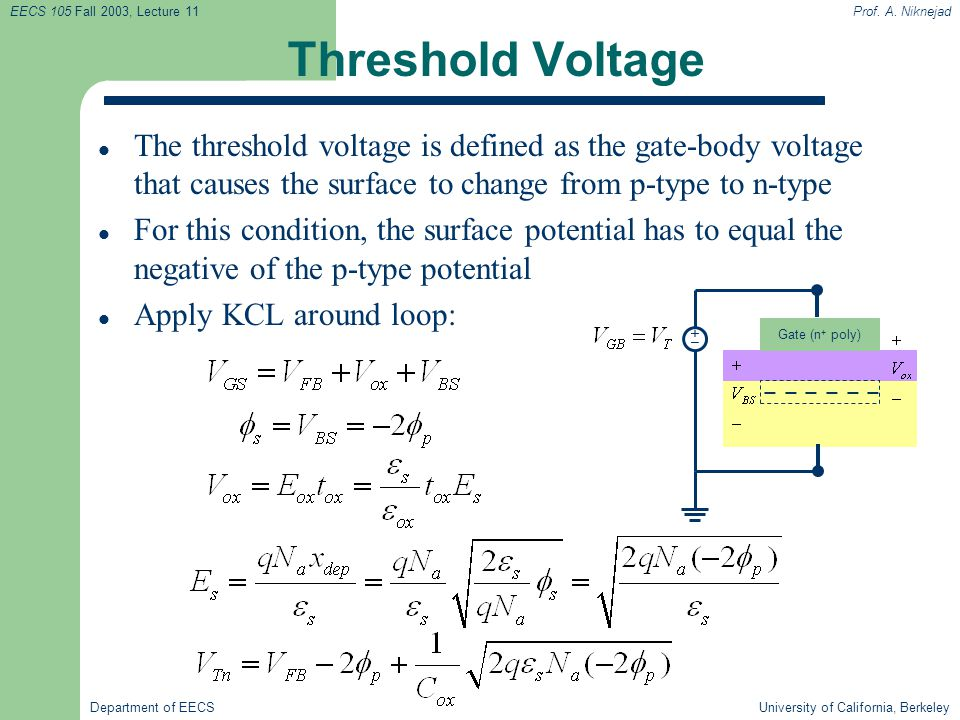 Threshold Voltage The threshold voltage is defined as the gate-body voltage that causes the surface to change from p-type to n-type.