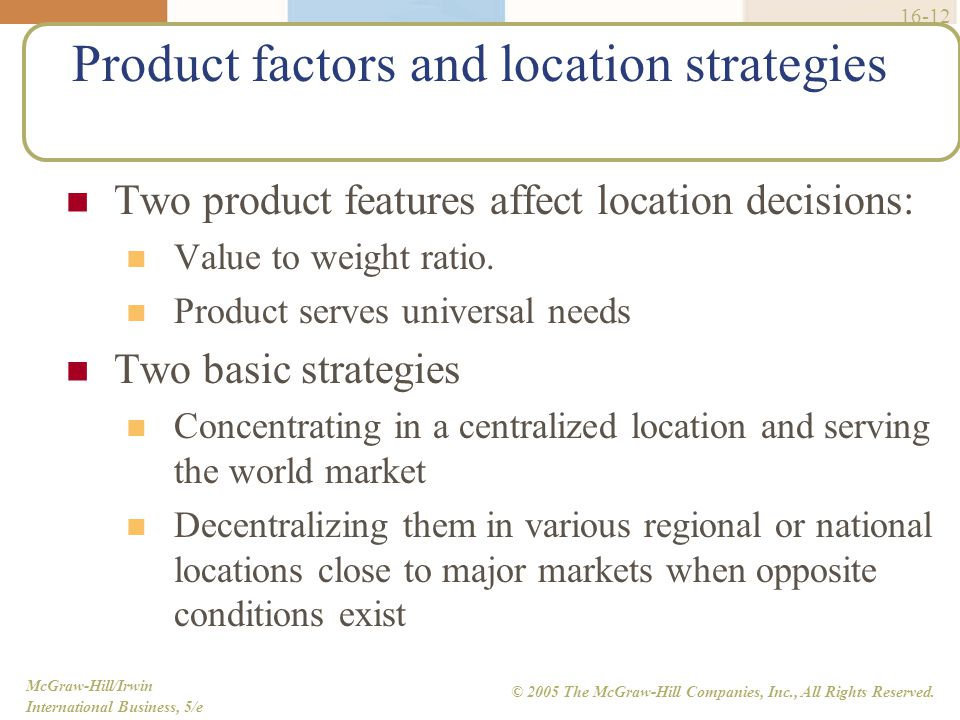 Product factors and location strategies. Global Manufacturing and Materials Management   ppt video online