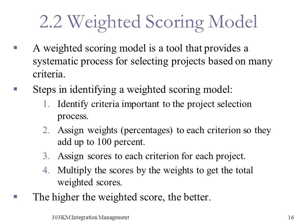 2.2 Weighted Scoring Model