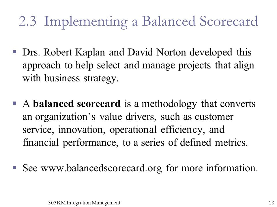 2.3 Implementing a Balanced Scorecard