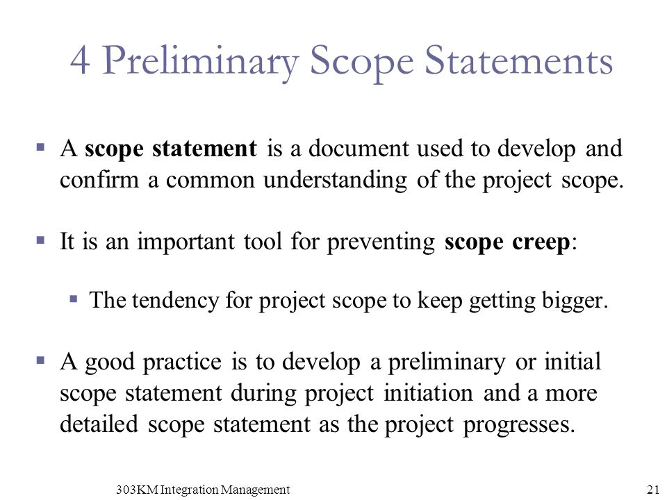 4 Preliminary Scope Statements