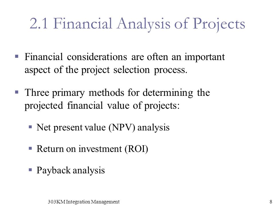 2.1 Financial Analysis of Projects