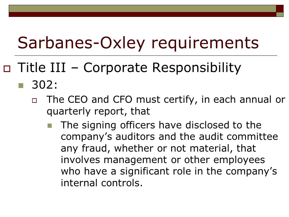 term papers sarbanes oxley Sarbanes-oxley and enron this 4-page paper examines the sarbanes-oxley act of 2002 and the abuses it is targeted against, as seen in the enron downfall bibliograpy lists 3 sources.
