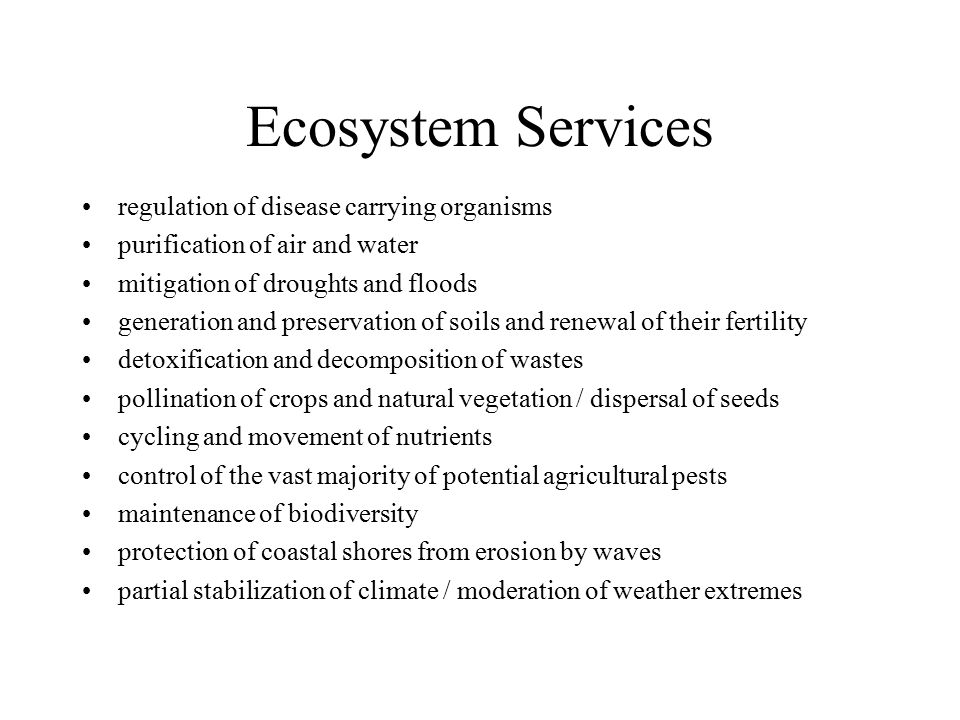 Ecosystem Services regulation of disease carrying organisms