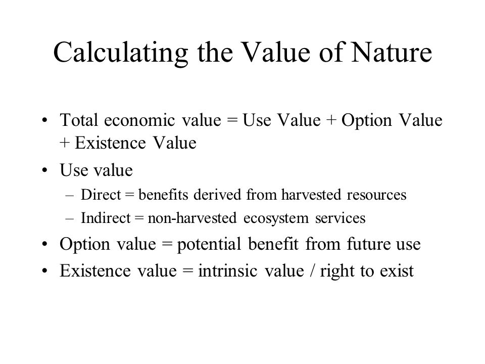 Calculating the Value of Nature
