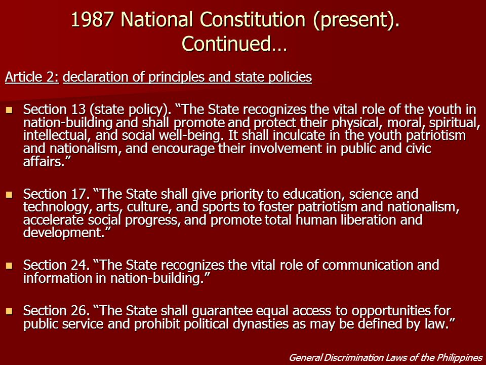 article 2 declaration of principles and state policies section 26 Below is a side-by-side presentation of article two (2) of the 1987 philippine  constitution in the filipino language  at mga patakaran ng estado,  declaration of principles and state policies  section 26.