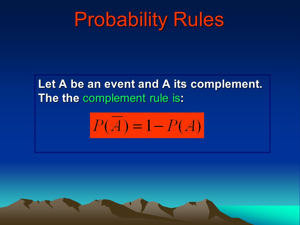 Let A be an event and A its complement. The the complement rule is:
