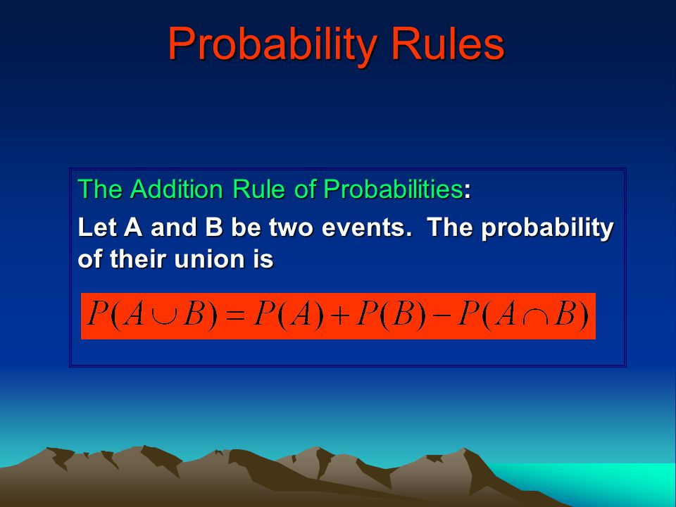 Probability Rules The Addition Rule of Probabilities: