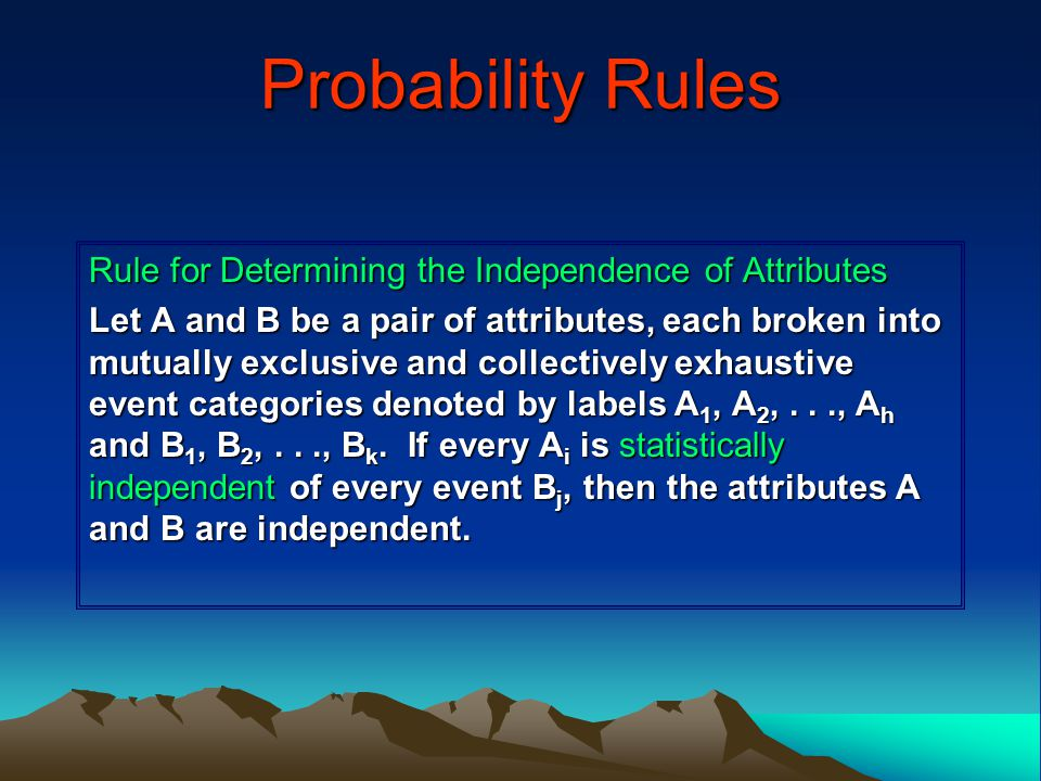 Probability Rules Rule for Determining the Independence of Attributes