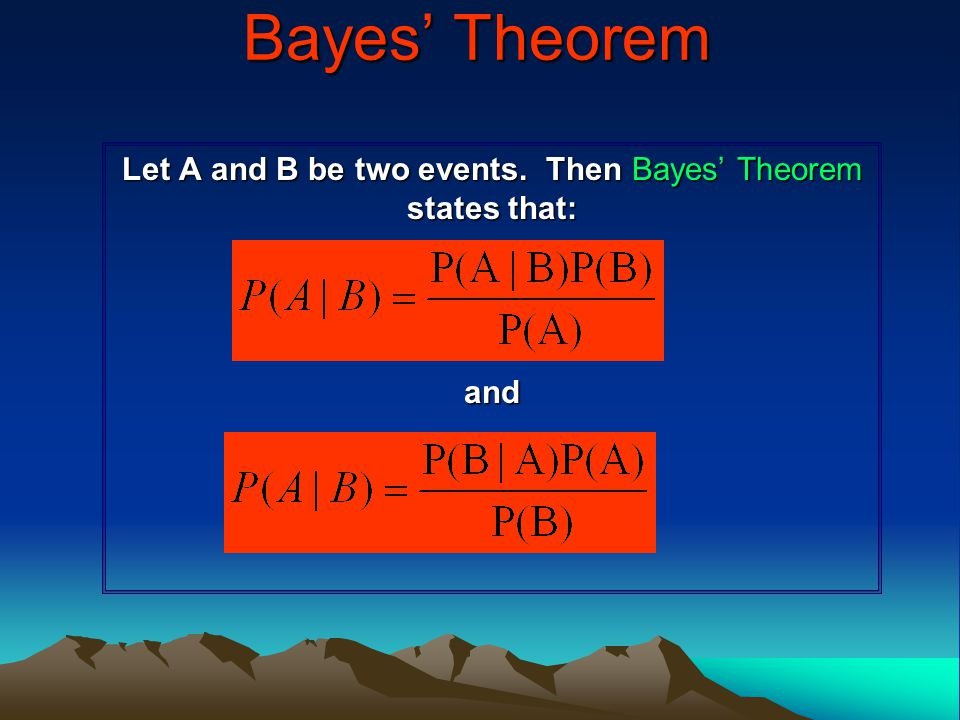 Let A and B be two events. Then Bayes' Theorem states that: and