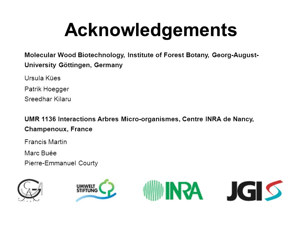 Acknowledgements Molecular Wood Biotechnology, Institute of Forest Botany, Georg-August-University Göttingen, Germany.