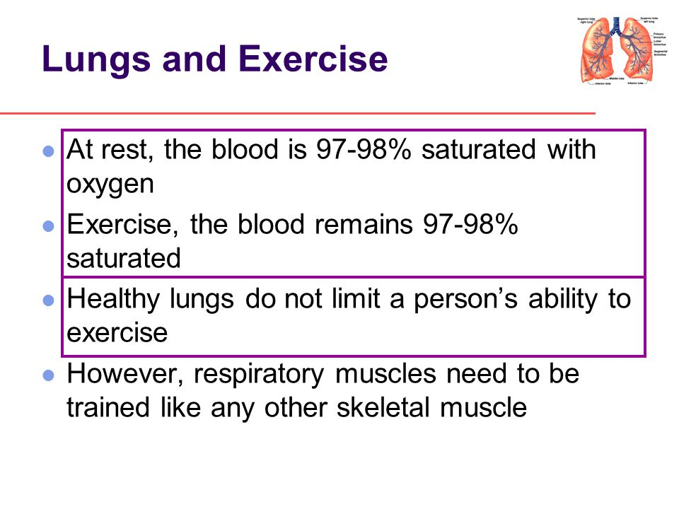 Lungs and Exercise At rest, the blood is 97-98% saturated with oxygen