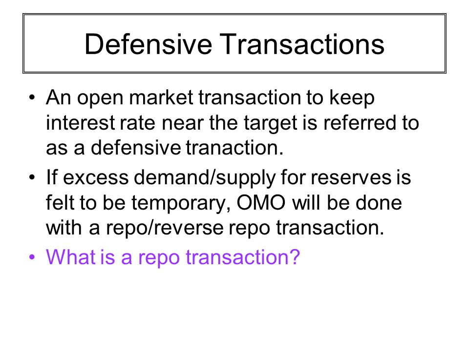 Defensive Transactions