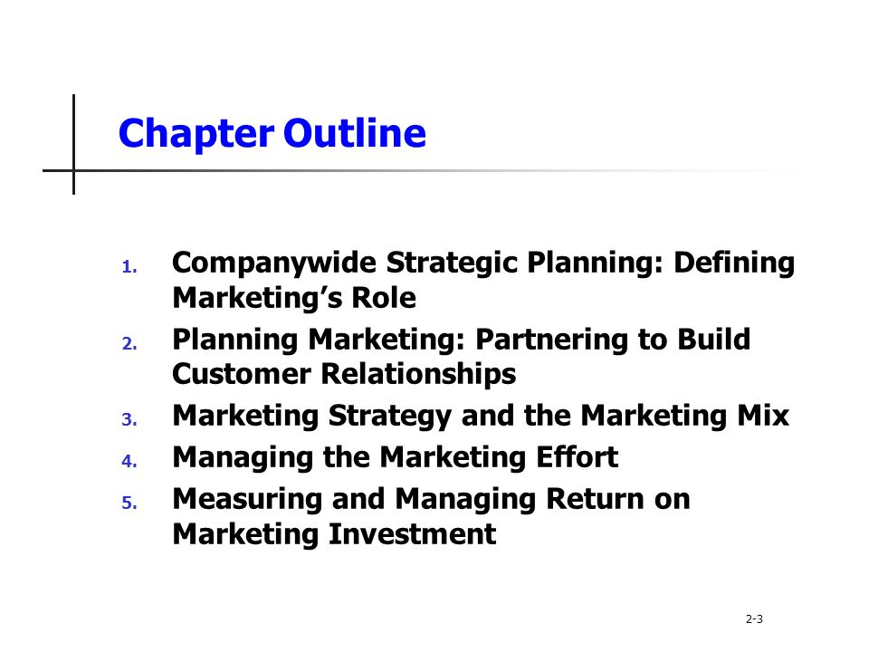 Chapter Outline Companywide Strategic Planning: Defining Marketing's Role. Planning Marketing: Partnering to Build Customer Relationships.