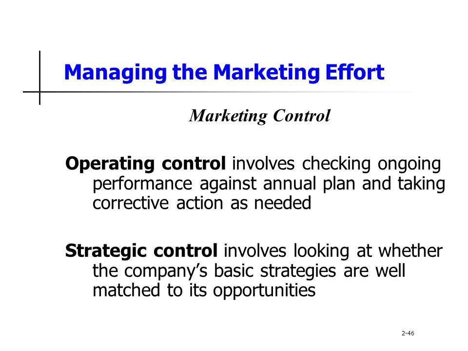 Managing the Marketing Effort
