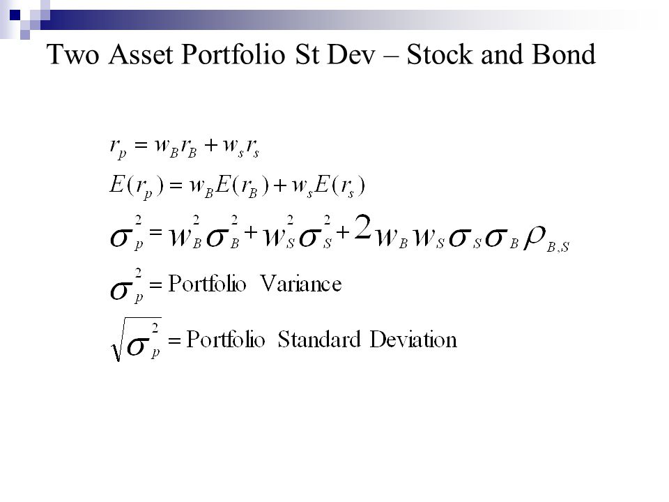 Two Asset Portfolio St Dev – Stock and Bond
