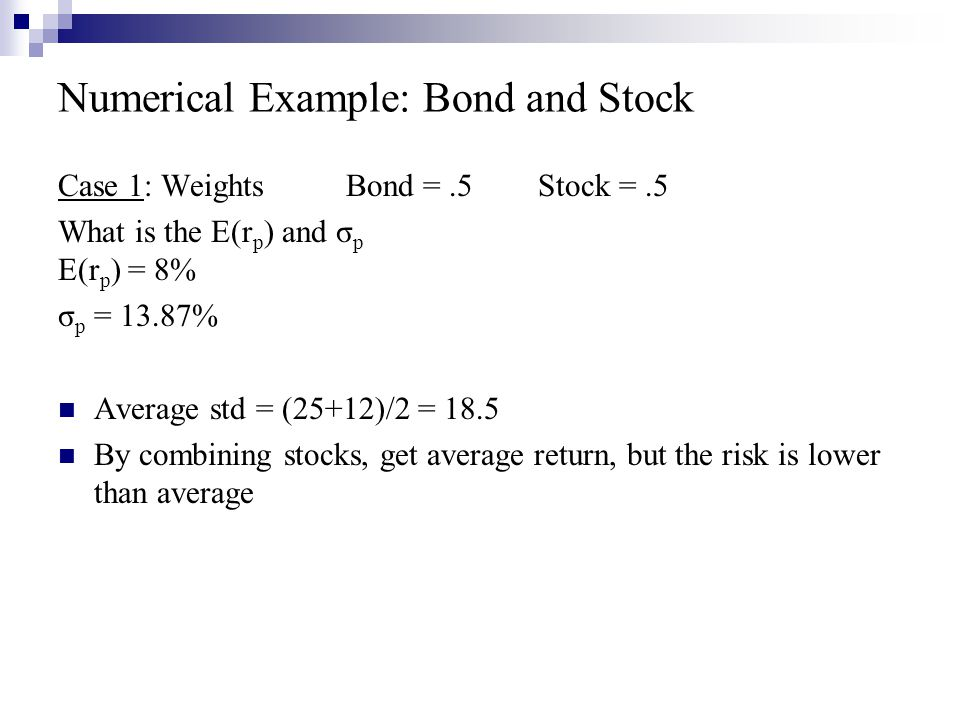 Numerical Example: Bond and Stock
